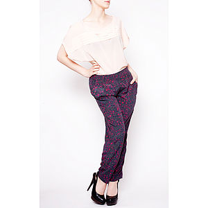 Viola Relaxed Fit Silk Trousers - trousers & leggings
