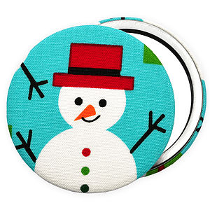 ''Snowman In Hat'' Christmas Compact Mirror