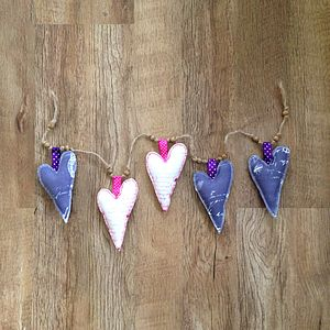 Screen Printed Fabric Heart Shaped Bunting