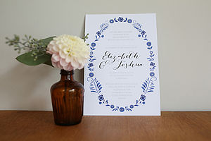 Danish Porcelain Design Wedding Invitation Set