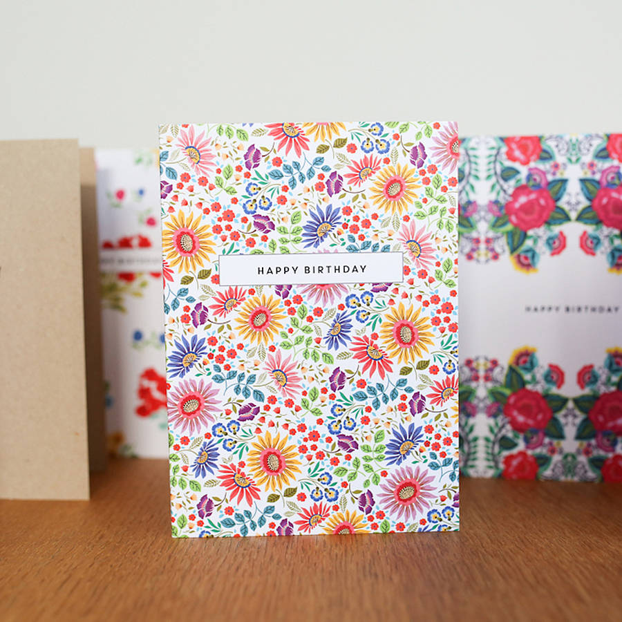 Bright Flowers Design Birthday Card