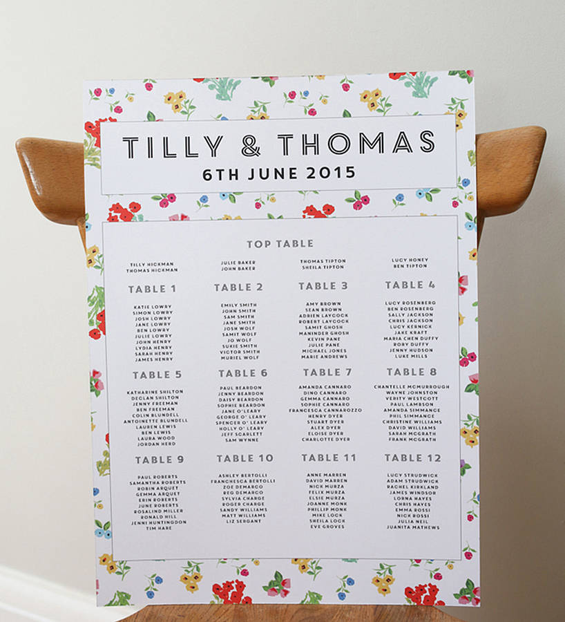 ditsy wedding seating plan by lucy says i do