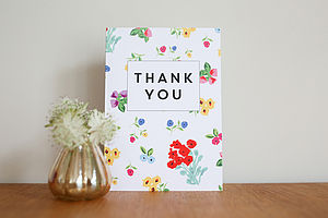 Personalised Ditsy Design Thank You Card - cards & invitations
