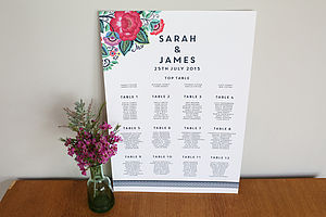 Floral Folk Design Wedding Seating Plan - table decorations