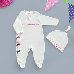Personalised 'Little Sister' Sleepsuit Set - babygrows