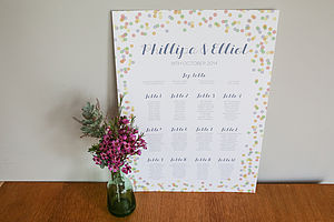 Confetti Design Wedding Seating Plan - table decorations
