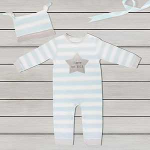 Personalised Name And Date Sleepsuit Set - babygrows