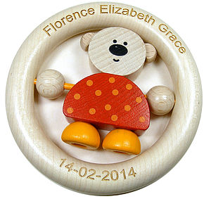 Personalised Teddy Wooden Ring Baby Rattle - rattles
