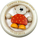 Personalised Teddy Wooden Ring Baby Rattle