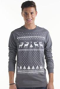 Men's Christmas Reindeer Long Sleeved Top