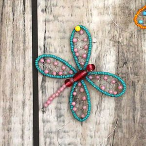 Dusky Pink And Turquoise Bead Dragonfly