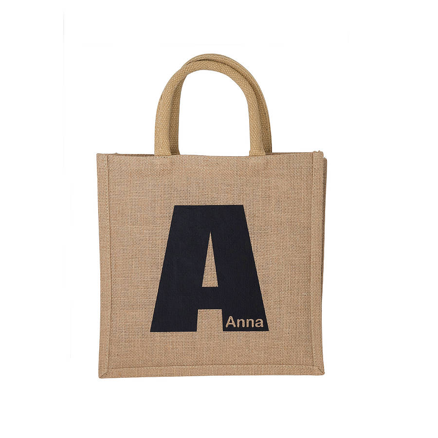 personalised initial jute shopping bag by tillyanna. Black Bedroom Furniture Sets. Home Design Ideas