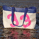 Personalised Sailcloth Beach Bag/Shopping Bag