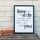 Hand Stamped 'I Love You' A3 Paper Print