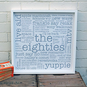 30th Birthday Gift; 'The Eighties' Large Paper Print - 30th birthday gifts