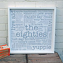 30th Birthday Gift; 'The Eighties' Large Paper Print