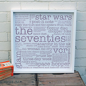 40th Birthday Gift; 'The Seventies' Large Paper Print