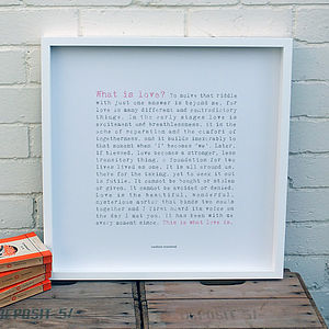 'What Is Love?' Large Paper Print; Wedding Gift
