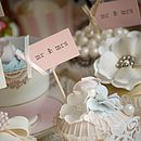 'mr & mrs' Party Picks - blush pink with ivory bows