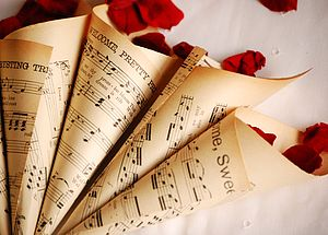 Set Of Ten Vintage Music Confetti Cones - table decorations