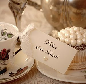 Ten Lace And Pearl Place Setting Tags - place cards