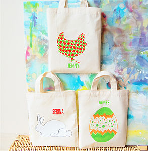 Personalised Set Of Three Mini Easter Bags - outdoor play