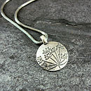 Cow Parsley Silver Drop Pendant