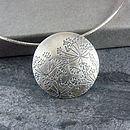 Handmade Cow Parsley Silver Disc Pendant