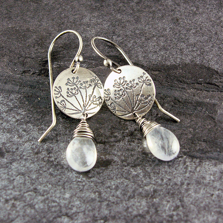 Cow Parsley Moonstone And Silver Earrings By Camali Design