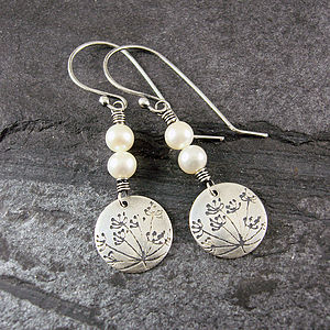 Cow Parsley Pearl And Silver Earrings - earrings