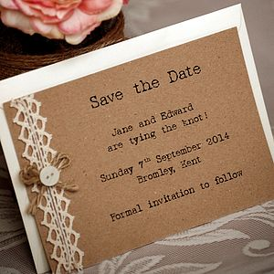 Country Vintage Style Save The Date Postcard