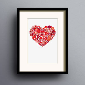 Button Heart Print - love prints & posters