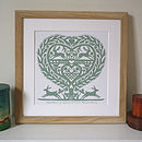 Personalised Romantic March Hares Heart Print