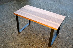 Desk In Solid Walnut With Bold, Steel Base - furniture