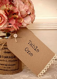 Set Of Five Country Vintage Style Table Tags - diy stationery