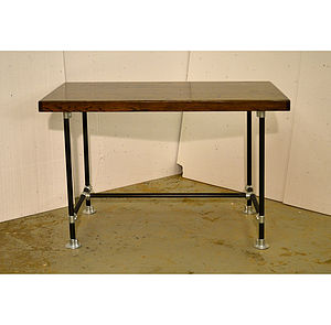 Cargo Train Desk With Steel Pipework Base - furniture
