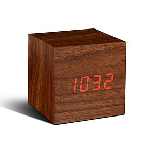 Cube Walnut Click Clock - living room
