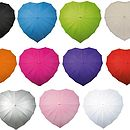 Black, mid blue, green, ivory frilled, orange, hot pink, purple, red, silver, baby pink, white heart shaped umbrellas