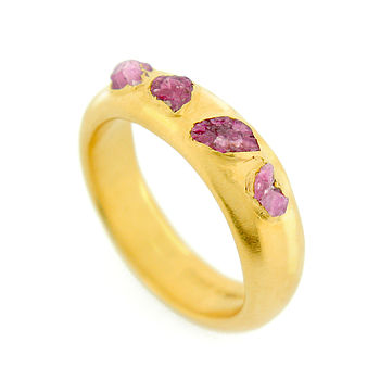 22ct Gold Ruby Crystal Ring