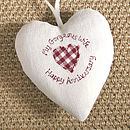 cream personalised wedding anniversary heart