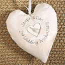 personalised 2nd wedding anniversary heart, ivory
