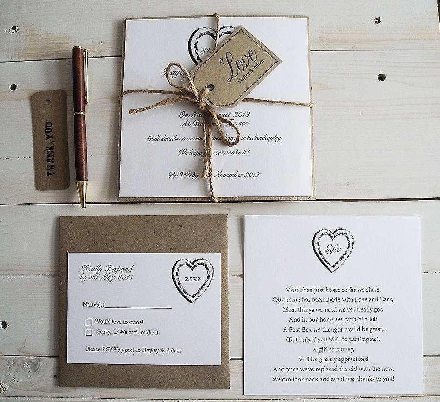 Bakers Twine Wedding Invitation: Parcel And Twine Invitation By Sweet Words Stationery