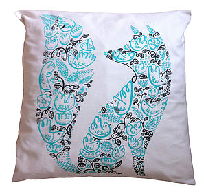Fox And Birds Large Cushion Cover - patterned cushions