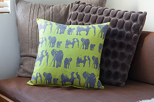 Elephant Family Cushion - children's room