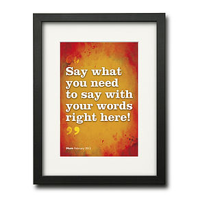 Personalised Say It In Your Own Words Print