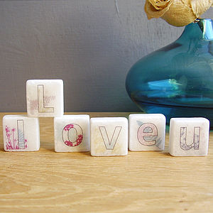 'I Love U' Decorative Mini Marble Letter Tiles - magnets