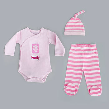 Personalised Pink Newborn Gift Set