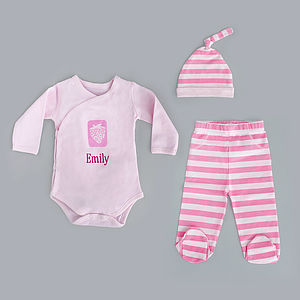 Personalised Pink Newborn Gift Set - outfits & sets
