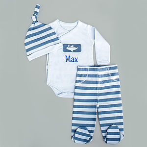 Personalised Blue Newborn Gift Set - outfits & sets
