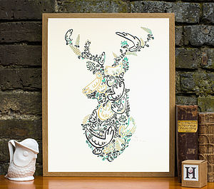 Stags Head Decorative Woodland Screenprint - art & pictures